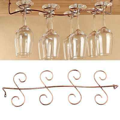 8 Wine Glass Rack Stemware Hanging Under Cabinet Holder Shelf Bar Kitchen