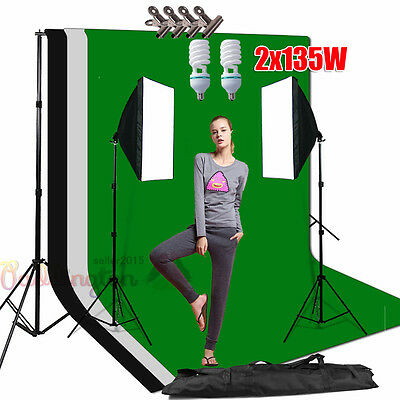 2x135W Photo Studio Softbox Light Stand Lighting 3 Backdrops Support Stand Kit