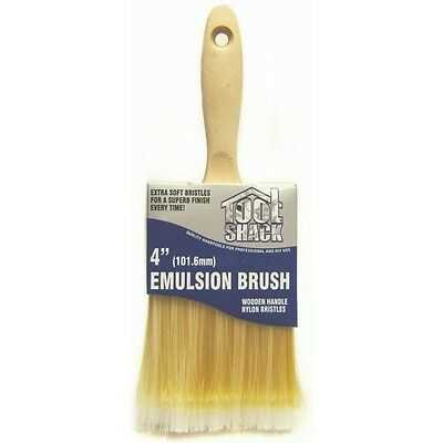 """4"""" EMULSION BRUSH Wooden Handle Wall  Painting Varnishing Smooth Rough New"""