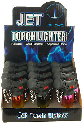 (12) Lot of 12 Side Torch Lighter Adjustable Windproof Butane Refillable 9474SH