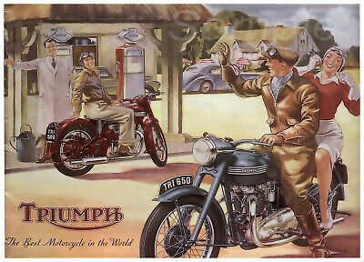 Vintage Triumph Motorcycle Advertising A4 Poster Print