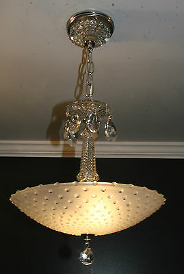 Antique frosted glass art deco light fixture ceiling chandelier candlewick
