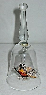 Vintage Glass Bell Pheasant Bell West Virginia Glass Co