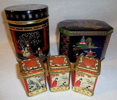 Vintage Japanese Tea Tin Lot - Ornate Detailed Asian Tins - Set of 5