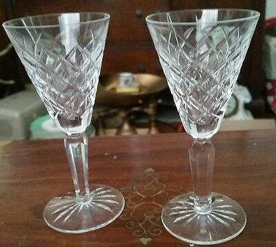 Waterford Fine Irish Crystal TYRONE Pattern Hand Cut Sherry  Stem set of 2