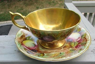 Elegant AYNSLEY Orchard Gold Cup Saucer Signed by D. Jones