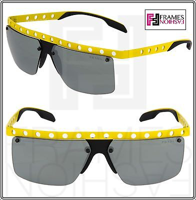 baf877ec9a9 PRADA MACHINE PR50RS Yellow Black Perforated Mirorred Sport Sunglasses 50R