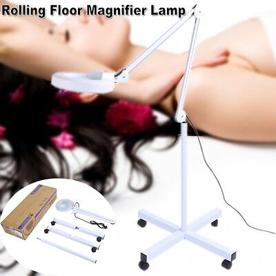 Magnifying Lamp 5 Diopter Illuminated Magnifier Light Glass Lens 4Rolling Stand