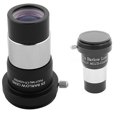 "1.25"" 2X Barlow Lens Metal Multi-coated Optics For Telescope Eyepiece Astronomy"