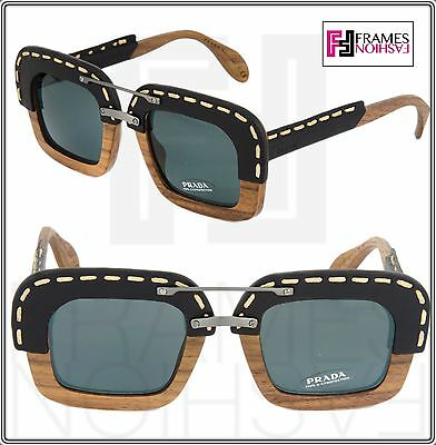 8d5656466623 PRADA RAW Nut Canaletto Black Leather Brown Wood Sunglasses Square PR26RS  26R