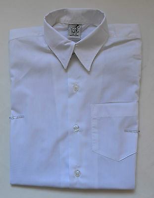 NEW unisex Short Sleeve School Formal Shirt White size 5,6,8,10,12,14,16