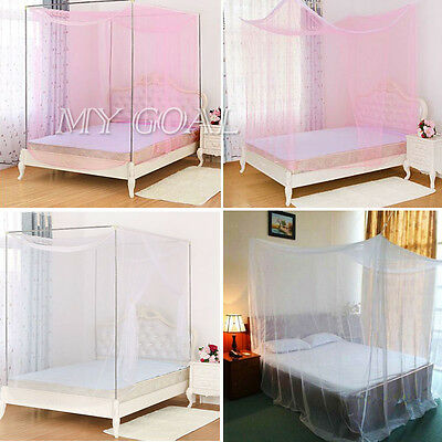 Mosquito Net Box Fly Insect Bug Protection Mesh Four Corner Bed Canopy Curtain