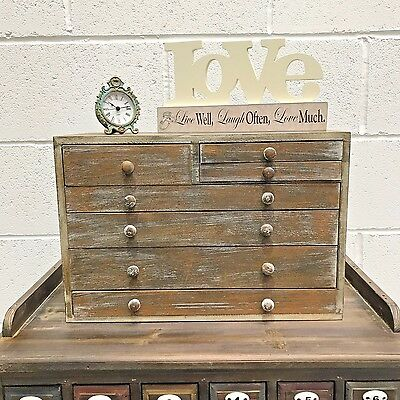 7 Drawer Wooden Storage Desk Unit Chest Cabinet Paper Vintage Style