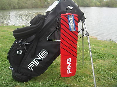 Ping Golf - Tri-folded Towel - Red with Black Strips + FREE Tour Tees