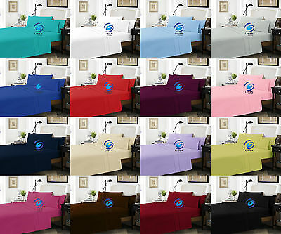 Extra Deep Fitted Sheet Polycotton Easy Care Fabric Pillow Cases Sold Separately