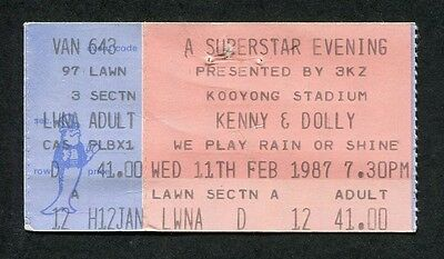 Original 1987 Dolly Parton Kenny Rogers Concert Ticket Stub Melbourne Australia