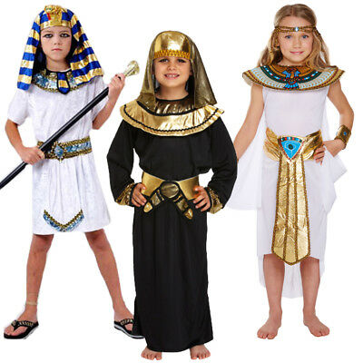Boys Girls Pharaoh Egyptian King Fancy Dress Costume Historical Day Kids 4-12 Y