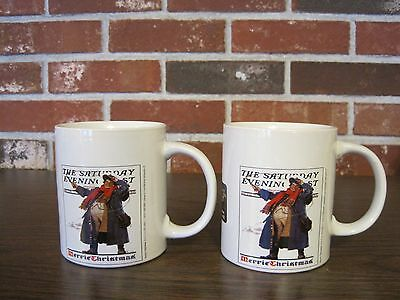 2005 Norman Rockwell The Saturday Evening Post 2 Merrie Christmas Cups / Mugs