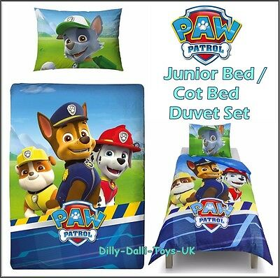 New Paw Patrol JUNIOR BED / COT BED Duvet Cover Set 50% Cotton Boys Blue Bedding