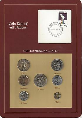 Coin Sets of All Nations - Mexico, 7 coin, Brown card