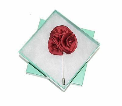 Men's Dark Red Floral Lapel Stick Pin & Gift Box