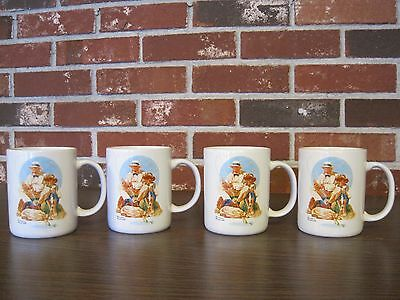 """4 Norman Rockwell """"catching The Big One"""" Cups / Mugs"""
