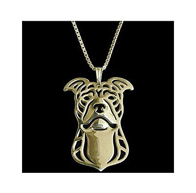 Rose Gold America Pit Bull Terrier Necklace Pendant