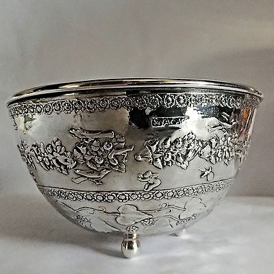 E F Caldwell & Co Inc Antique Footed Bowl Embossed Silver Plated Early 1900's