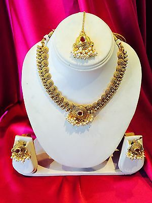 Bollywood Indian Bridal Necklace Earrings Jewellery Burgundy & Antique Gold #B31