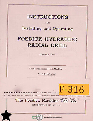 Fosdick 30, 42 and 42P, Jig Borer Operations and Parts Manual Year (1955)