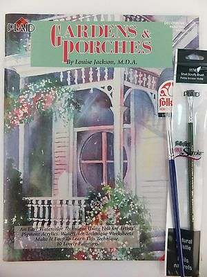Gardens & Porches by Louise Jackson Decorative Painting Book w Opt Brush U PICK