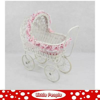 Cane Pram White with pink frill great gift idea
