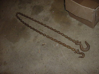 Vintage Primitive Blacksmith Logging Towing Tow Chain 8 Foot
