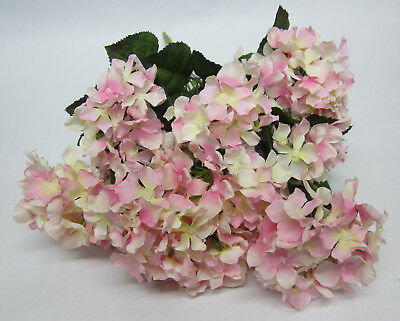 Bunch of 12 Pink Hydrangea Flowers Home Decor For Vase, Wedding Bouquet or Posy
