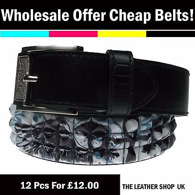UK Clearance Offer Wholesale Job Lot Gothic Studded Belt Mix Assorted Sizes PF15