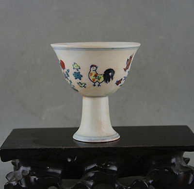 Old collectibles china Decorated Handwork rare painting chicken porcelain cup-1