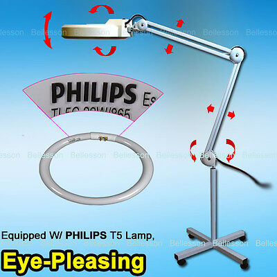 Magnifying Lamp 5 Diopter Illuminated Magnifier Light Glass Lens Rolling Stand