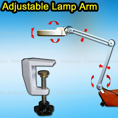 Lamp 5 Diopter Illuminated Magnifier Light Glass Lens Rolling Clamp 22W Lamp