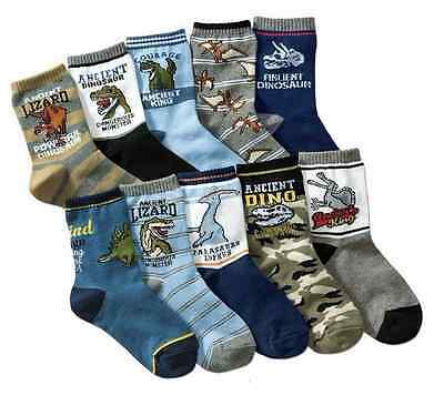 BULK... 5 pairs Kids Boys Dinosaur Theme Casual Socks ..fits 4-8 years