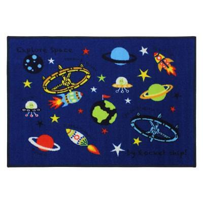 Childrens Kids Room Play Mat Astronomy Space Blue Mat Nursery Rug Mat 80x110cm