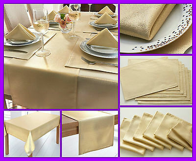 14 Pc Tableware set Sparkling Gold Fabric Table cover runner placemats napkins