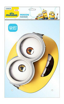Official Yellow Minions Card Masks Play Kids Adults Elasticated Movie Despicable