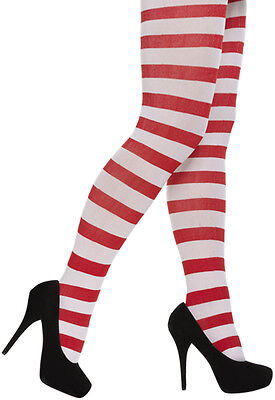 White & Red Striped Ladies Novelty Tights Fancy Dress Christmas Xmas & Halloween