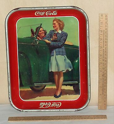 1942 DRINK Coca-Cola metal TRAY - TWO GIRLS AT CAR - marked Vintage TRAY