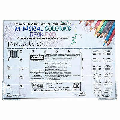 2017 HOD1886 House Of Doolittle Whimsical Coloring Desk Pad Calendar, 18.5 x 13""
