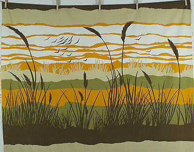 vintage 1970s 'Pastoral' by Evelyn Redgrave Tarian landscape print cotton fabric