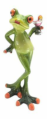 "Novelty Frog Figurine - Lady Frog Holding a Cocktail 6"" Tall"
