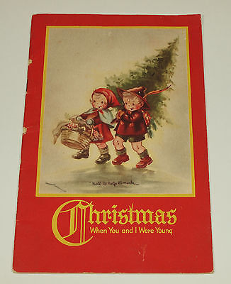 Vintage Christmas WHEN YOU & I WERE YOUNG Booklet Card NELL STOLP SMOCK