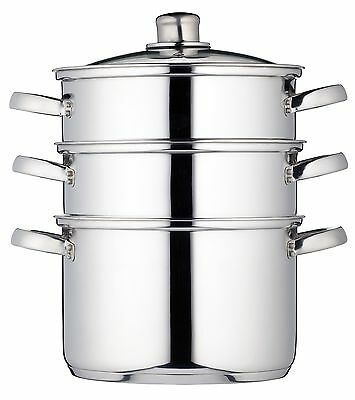 Kitchen Craft 22cm Clearview Stainless Steel 3 Tier Steamer Healthy Cooking Diet
