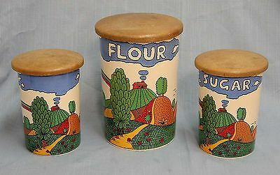 Crown Devon 3 Canister Set Country Lane By Robin Cody S Fielding & Co Ltd Funky!